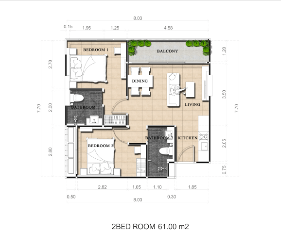 Two-bedroom 61 sq.m (Pool view)
