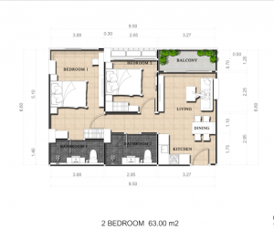 Two-bedroom 62 sq.m (Pool view)